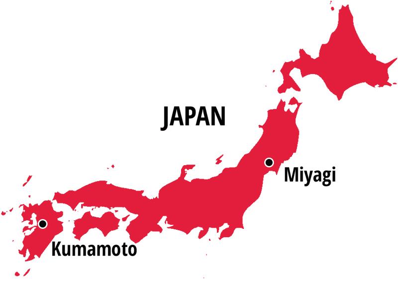 Kumamoto & Miyagi, Japan
